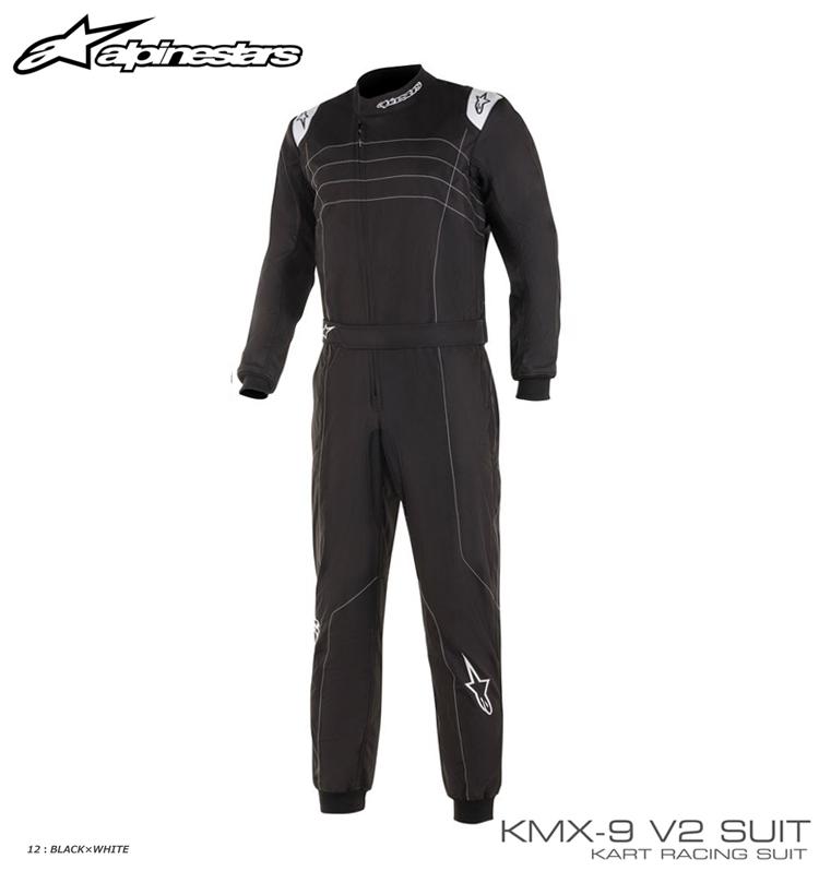 アルパインスターズ KMX-9 v2 SUIT ブラック×ホワイト(12) レーシングスーツ レーシングカート・走行会用 CIK-FIA Level2/N/2013-1公認 (3356019-12)