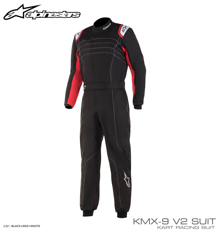 アルパインスターズ KMX-9 v2 SUIT ブラック×レッド×ホワイト(132) レーシングスーツ レーシングカート・走行会用 CIK-FIA Level2/N/2013-1公認 (3356019-132)