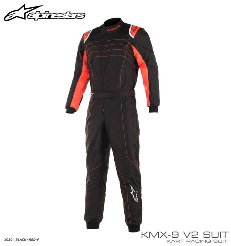アルパインスターズ KMX-9 v2 SUIT ブラック×レッド フルーオ (1030) レーシングスーツ レーシングカート・走行会用 CIK-FIA Level2/N/2013-1公認 (3356019-1030)