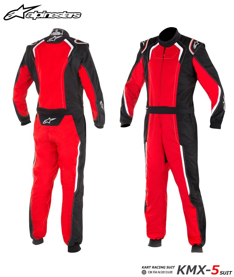 2018-19モデル アルパインスターズ KMX-5 SUIT ブラック×レッド×ホワイト(132) レーシングスーツ レーシングカート・走行会用 CIK FIA N/2013公認 (3353017-132)