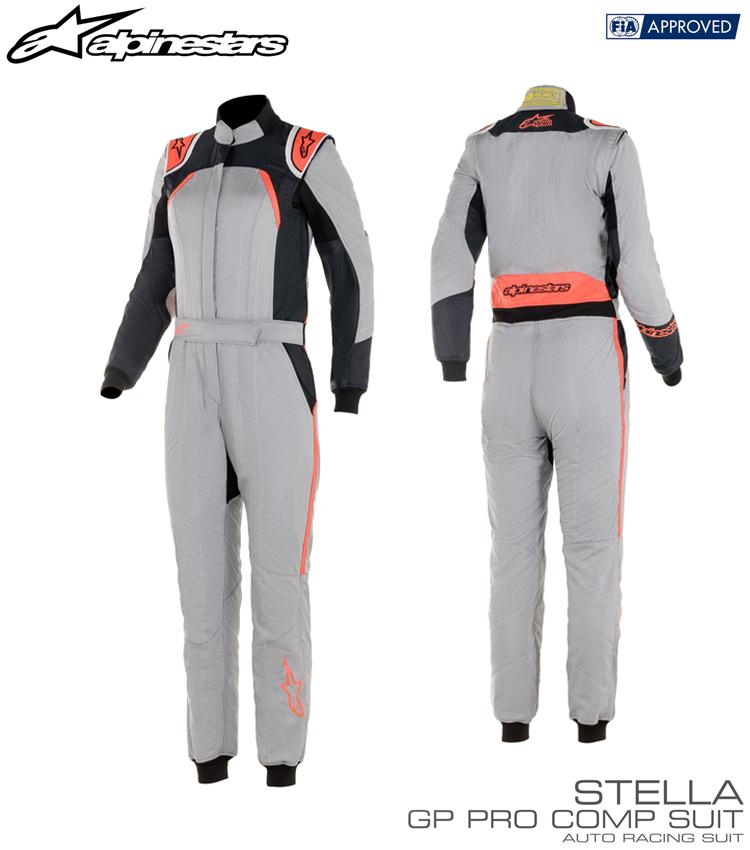 2020年NEWカラー! アルパインスターズ STELLA GP PRO COMP SUIT ミッドグレー×ブラック×コーラル(9153) レーシングスーツ FIA8856-2000公認モデル (3360019-9153)