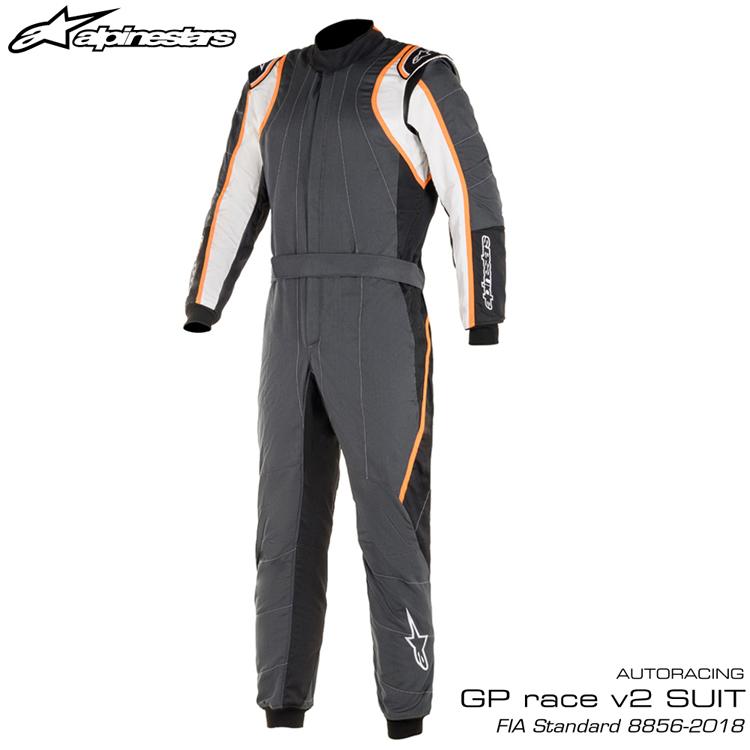 2020NEWモデル アルパインスターズ GP RACE v2 SUIT アンスラサイト×ホワイト×オレンジ(1424) レーシングスーツ FIA8856-2018公認モデル AUTO RACING SUIT (3355020-1424)