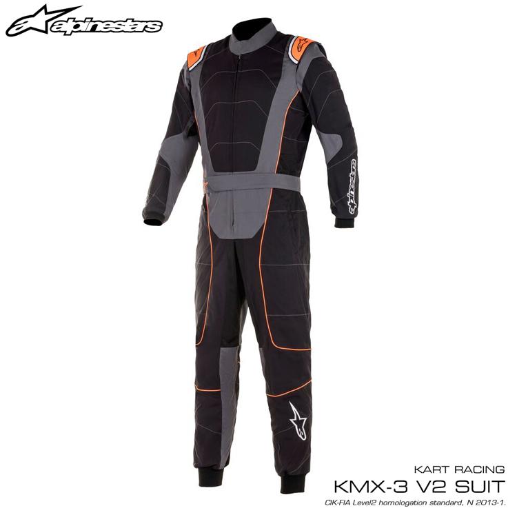 2020NEWモデル アルパインスターズ KMX-3 v2 SUIT ブラック×アンスラサイト×オレンジ (1056) レーシングスーツ レーシングカート・走行会用 CIK FIA N/2013-1公認 (3351520-1056)