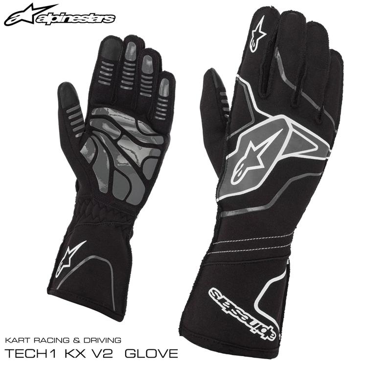 2020NEWモデル アルパインスターズ レーシンググローブ TECH1-KX v2 ブラック×アンスラサイト(104) レーシングカート・走行会用 (3551820-104)