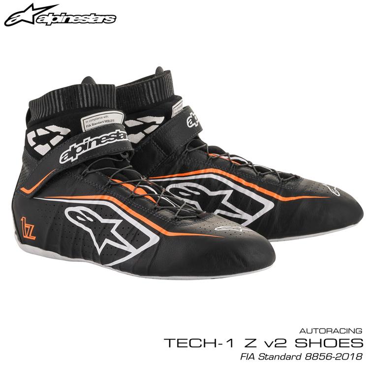 2020NEWモデル アルパインスターズ レーシングシューズ TECH1 Z v2 ブラック×ホワイト×オレンジ(1241) FIA8856-2018公認モデル AUTO RACING SHOES (2715020-1241)