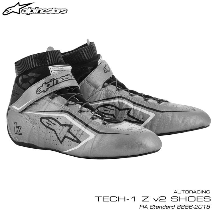 2020NEWモデル アルパインスターズ レーシングシューズ TECH1 Z v2 シルバー×ブラック×ホワイト(1912) FIA8856-2018公認モデル AUTO RACING SHOES (2715020-1912)