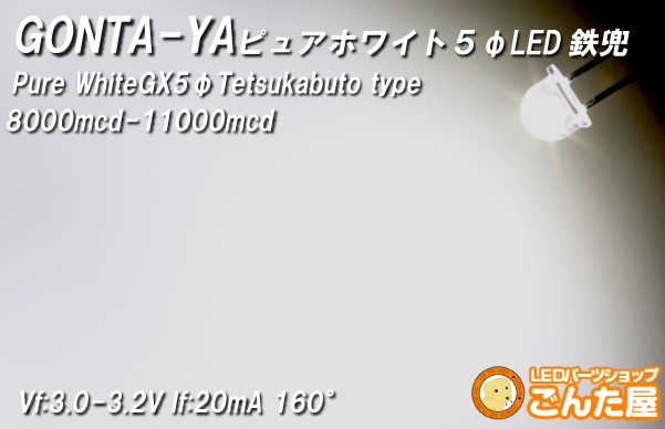 LED 鉄兜 ピュアホワイト EX5 (5mm球) 500本入り L76 ごんた屋