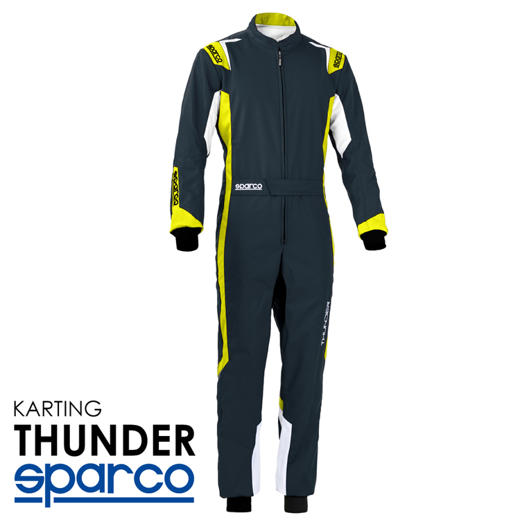 2020NEWモデル SPARCO スパルコ レーシングスーツ THUNDER グレイ×イエロー レーシングカート・走行会用モデル CIK-FIA Level2/N/2013-1公認 (002342_GSGF)