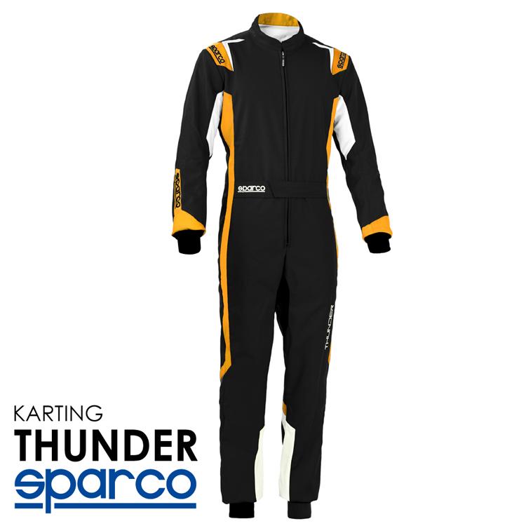 SPARCO スパルコ レーシングスーツ THUNDER ブラック×オレンジ レーシングカート 新作からSALEアイテム等お得な商品 満載 Level2 N 走行会用モデル 002342_NRAF 永遠の定番 CIK-FIA 2013-1公認