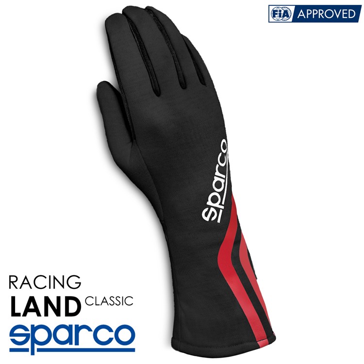 2020NEWモデル SPARCO スパルコ レーシンググローブ LAND CLASSIC ブラック×ホワイト FIA8856-2000公認-SFI3.3/5 (001358_NRBI)