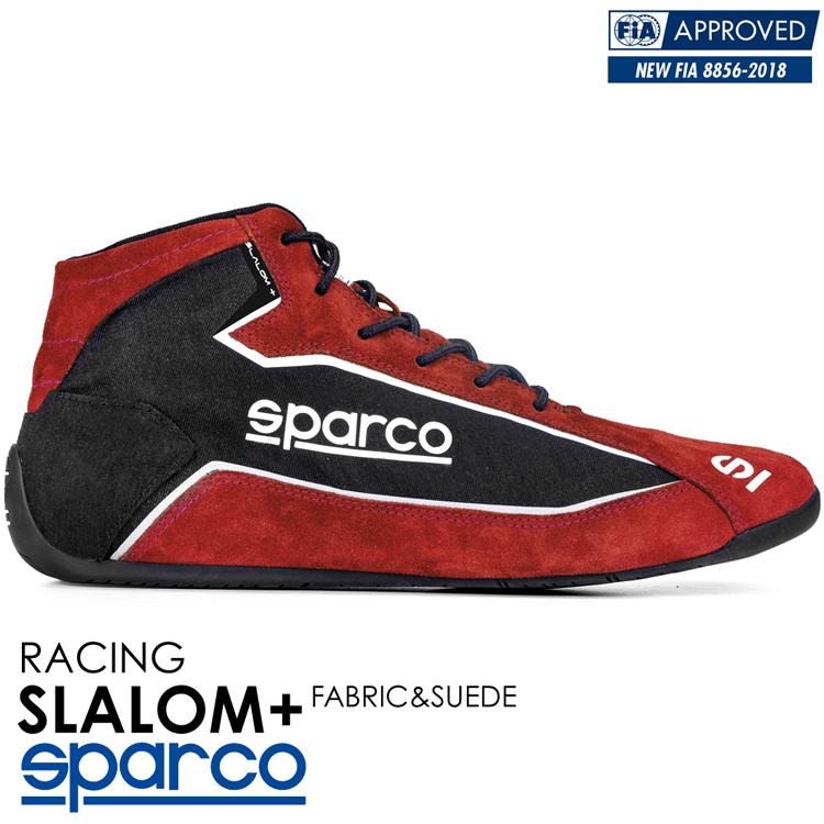 2020NEWモデル SPARCO スパルコ レーシングシューズ SLALOM+ FABRIC & SUEDE (スラローム・プラス) レッド×ブラック FIA8856-2018公認 (001274F_RSNR)