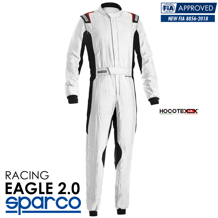 2020NEWモデル SPARCO スパルコ レーシングスーツ EAGLE 2.0 (イーグル) R555 ホワイト×ブラック FIA公認8856-2018 HOCOTEX (001136H_BNRS)