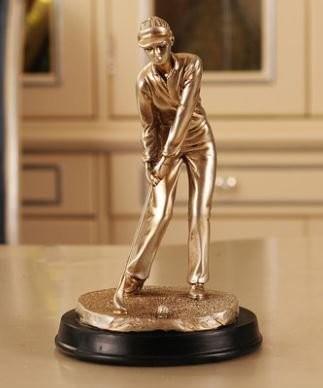 置物 ゴルフをする人 アンティーク風 (女性タイプ)