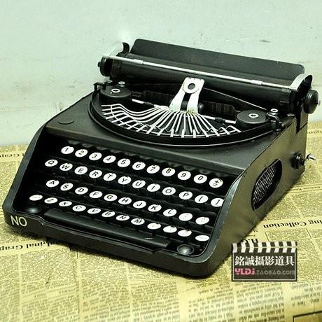 置物 タイプライター ブリキ アンティーク風 (ブラック)