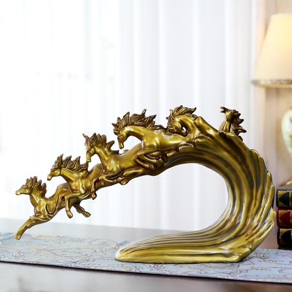 置物 翔る馬のスローモーション ヨーロピアン風 樹脂製 (アンティークゴールド)