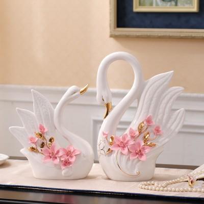 置物 白鳥のつがい ヨーロッパ風 立体的なフラワー 陶磁器製 2個セット (ピンク)