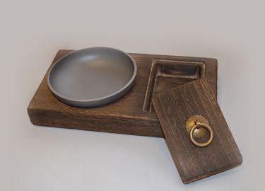 灰皿 和モダン 円形の皿&小物入れ 木製台座付き (グレー)