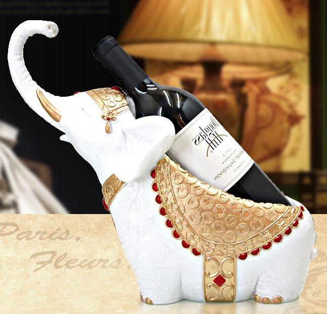 ワインホルダー エレガントな装飾品を纏った象 ホワイトxゴールド