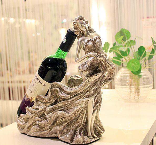 おしゃれなワインホルダー ワインスタンド オブジェ インテリア ワインボトルホルダー エレガント ロングドレスを引きずる長髪の美女