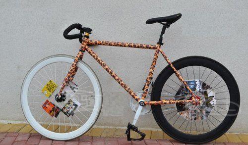 自転車専用 柄テープ 防水 (オレンジ系豹柄, 複数パーツセット)