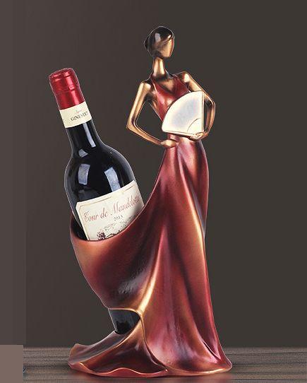 おしゃれなワインホルダー ワインスタンド オブジェ インテリア ワインボトルホルダー 扇子を持つロングドレスの女性 ヨーロッパ風 (レッド)