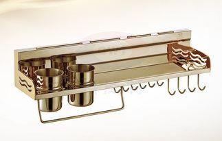 収納ラック タオル掛け フック付き 壁掛け用 ゴールド 60cm (箸入れ2個タイプ)
