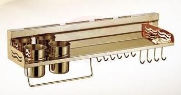 収納ラック タオル掛け フック付き 壁掛け用 ゴールド 70cm