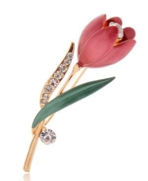 おしゃれで美しい キラキララインストーンがかわいいブローチ ブローチ チューリップ ダイヤ風 装飾付き (ローズ) 【送料無料】