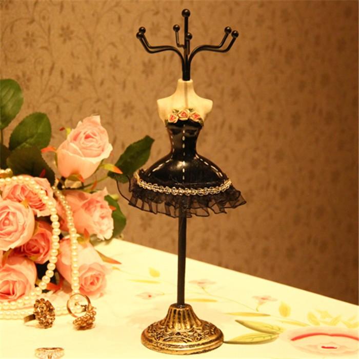 アクセサリースタンド 薔薇のドレス姿 トルソー風 フックのみ (ブラック)