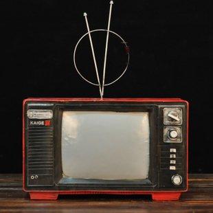 置物 赤いレトロテレビ アンティーク風 ブリキ製