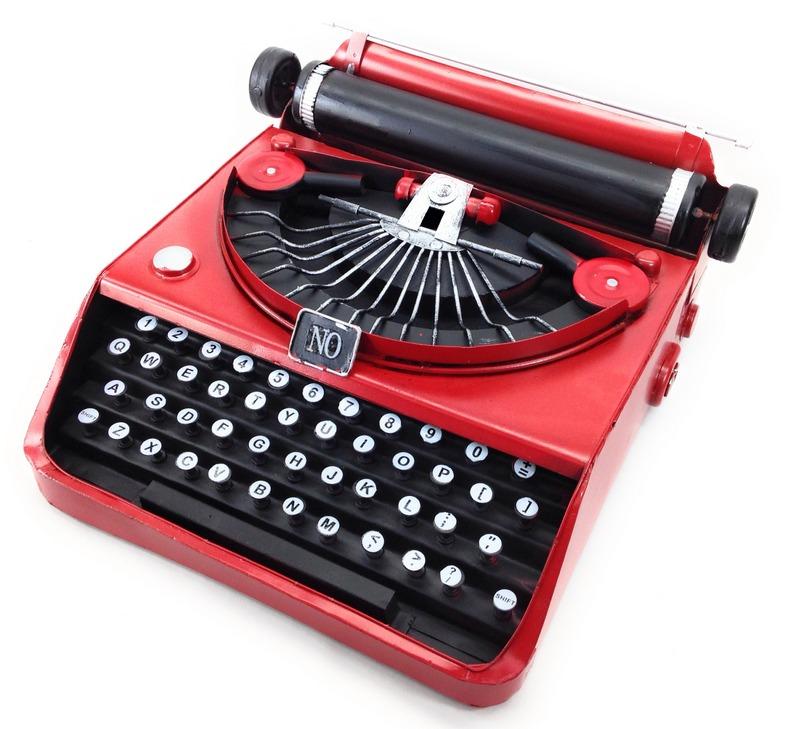 置物 タイプライター ブリキ アンティーク風 (レッド)