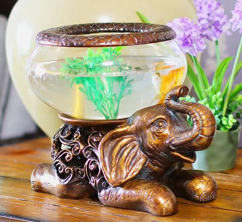 フラワーベース ゾウ アジアン風 ガラス製 (大サイズ)