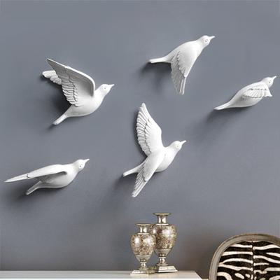 壁掛けオブジェ 飛ぶ小鳥 モダン 樹脂製 5個セット (ホワイト)
