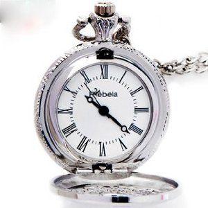 懐中時計 アンティーク風 チェーン付き (シルバー)
