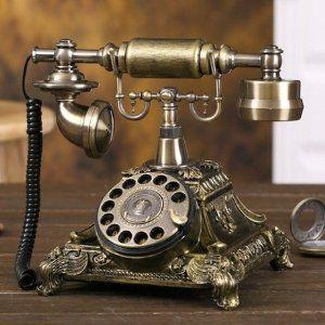 置物 電話機 電話器 ダイヤル式 アンティークスタイル (ブロンズカラー)
