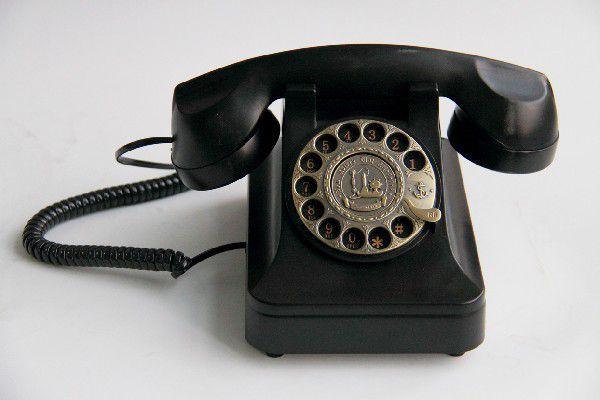 置物 電話機 電話器 黒電話風 ダイヤル式 ノスタルジック (ブラック)