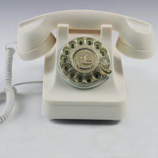 置物 電話機 電話器 黒電話風 ダイヤル式 ノスタルジック (ホワイト)