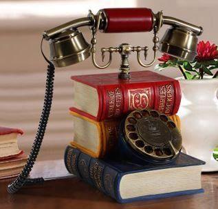 置物 電話機 電話器 カラフルな洋書型 アンティーク風 ダイヤル式