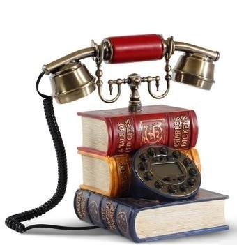 置物 電話機 電話器 カラフルな洋書型 アンティーク風 プッシュ式