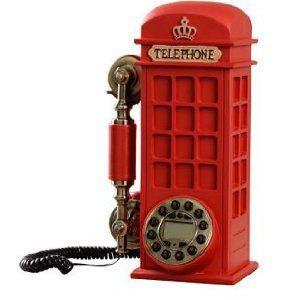 置物 電話機 電話器 アンティーク風 ロンドンの赤い電話ボックス