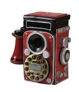 置物 電話機 電話器 アンティーク風 カメラ (レッド)