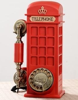 置物 電話機 電話器 アンティーク風 ロンドン 赤い電話ボックス