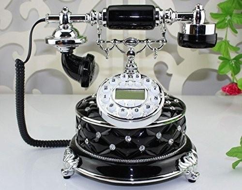 置物 電話機 電話器 アンティーク風 ダイヤ風装飾 ブラック 黒