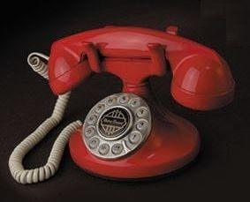 置物 電話機 電話器 レトロ風 コロンとした形 (レッド)