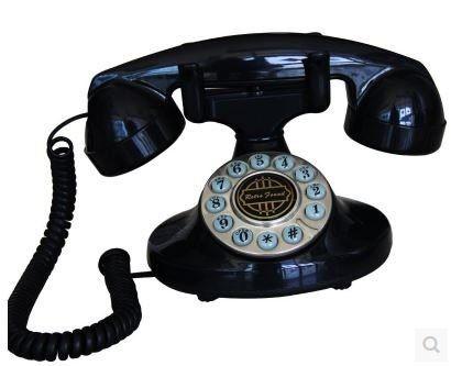 置物 電話機 電話器 レトロ風 コロンとした形 (ブラック)