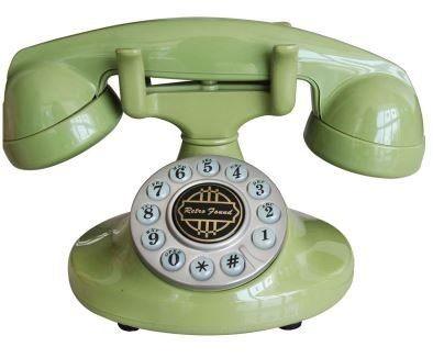 置物 電話機 電話器 レトロ風 コロンとした形 (グリーン)
