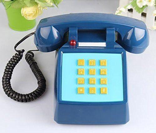 置物 電話機 電話器 レトロなおもちゃ風 ポップカラー プッシュ式 (ネイビー)