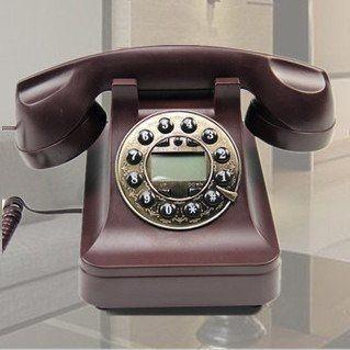 置物 電話機 電話器 黒電話風 ダイヤル風のプッシュ式 (ブラウン)
