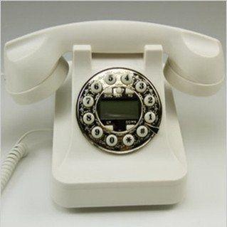 置物 電話機 電話器 黒電話風 ダイヤル風のプッシュ式 (ホワイト)