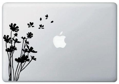 アップルマークをおしゃれに アートステッカー スキンシール 在庫処分セール MacBook ステッカー 在庫一掃売り切りセール シール 送料無料 Wind in 最安値 Flowers the ブラック 11インチ